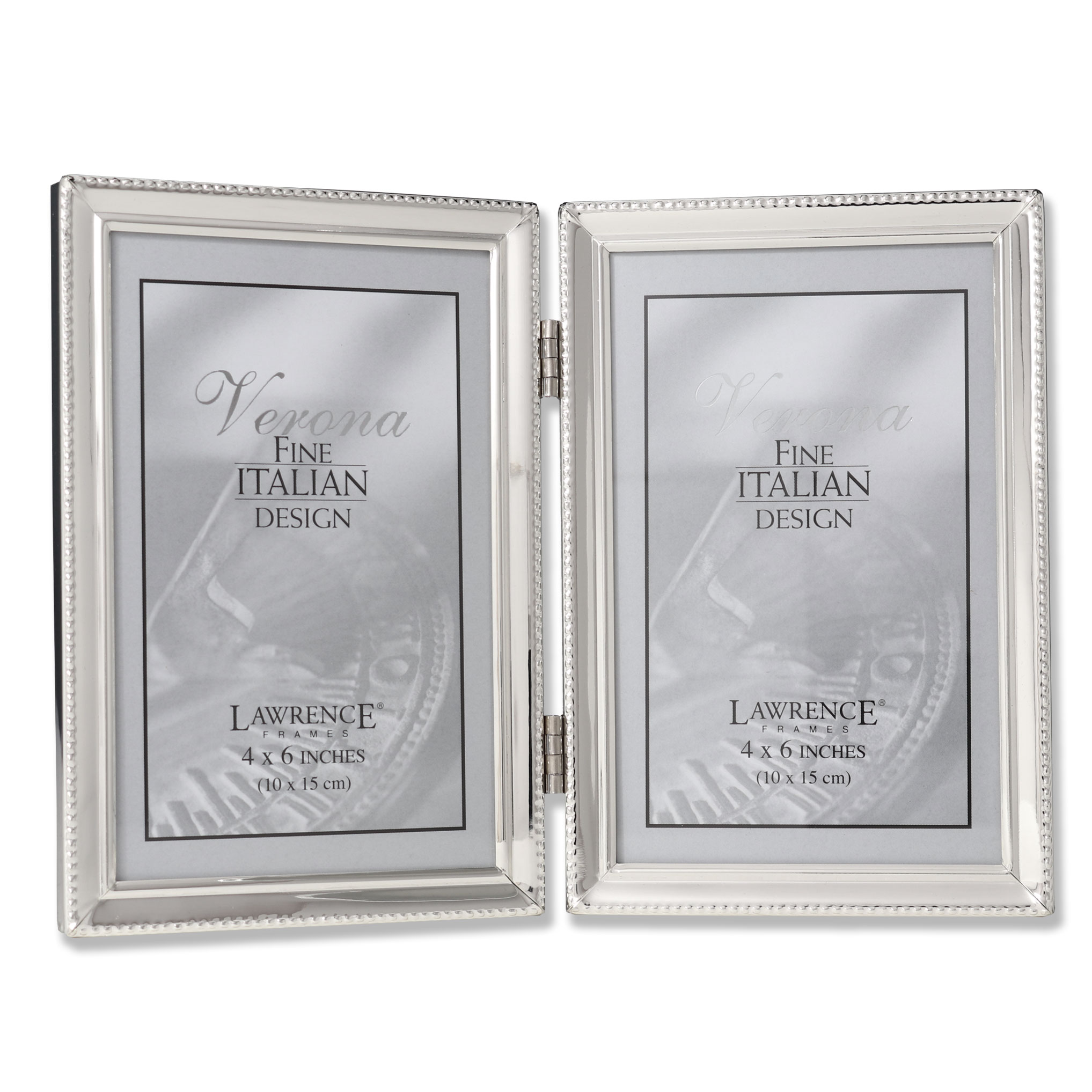 Polished Silver Plate 4x6 Hinged Double Picture Frame - Bead Border ...