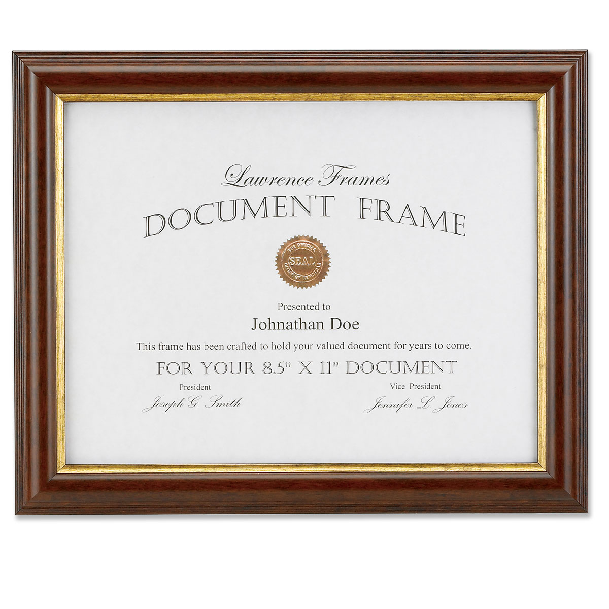 185181 Walnut and Gold Document 8.5x11 Picture Frame | PhotoFrames.net