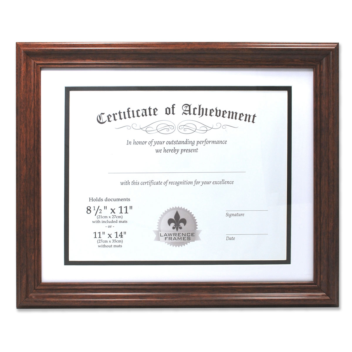 Dual Use Walnut 11x14 Certificate Picture Frame With