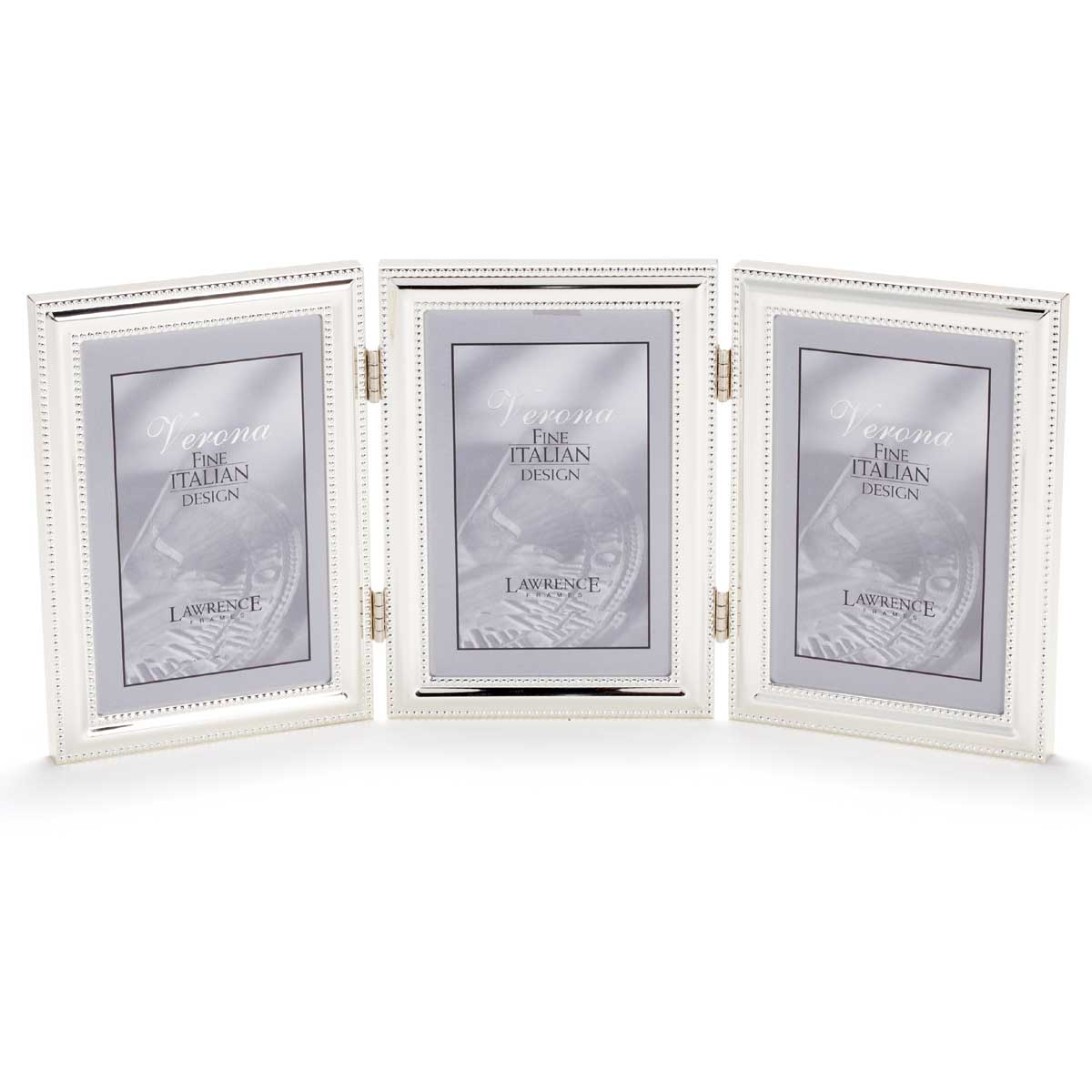 5x7 Hinged Triple (Vertical) Metal Picture Frame Silver-Plate with ...