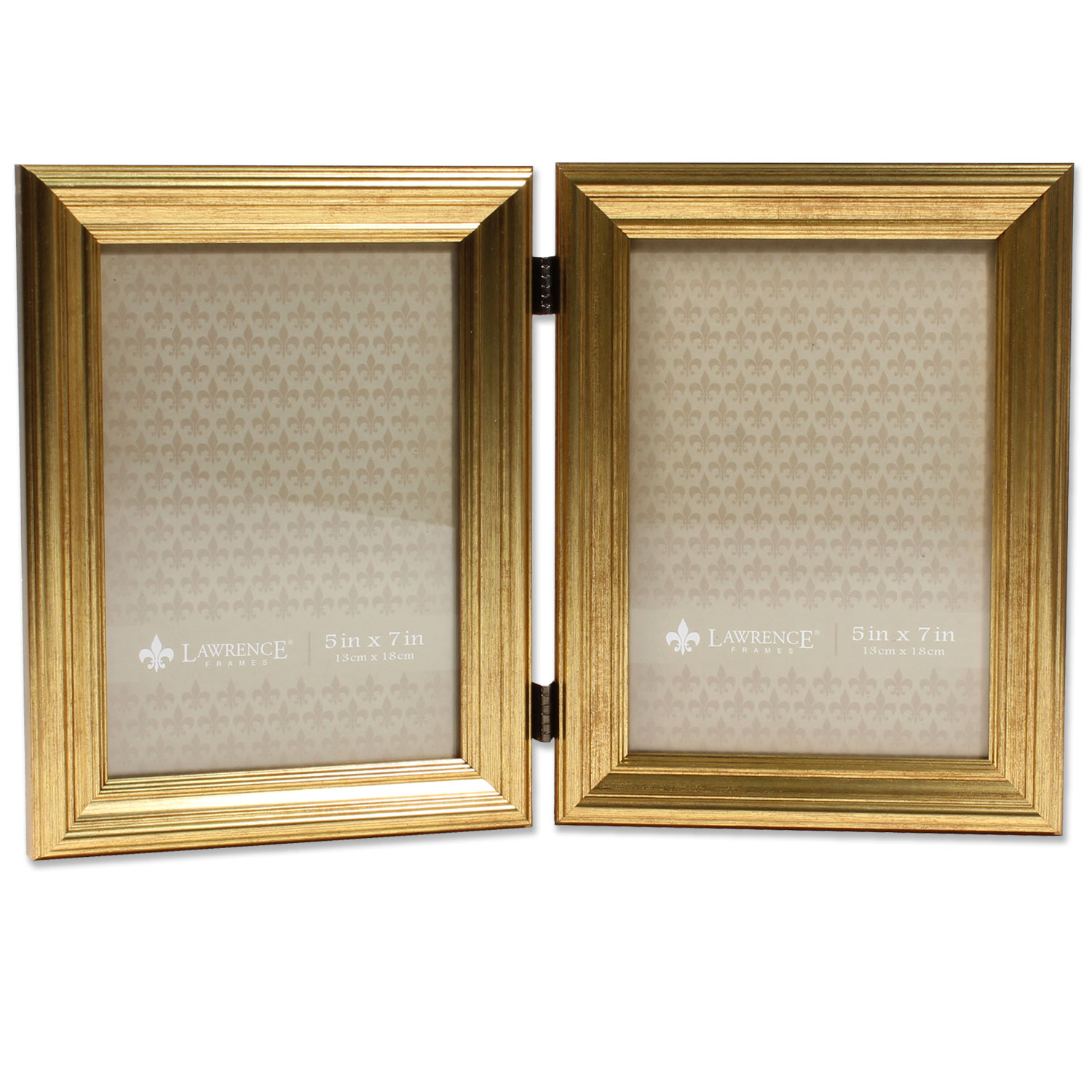 5x7 Hinged Double Sutter Burnished Gold Picture Frame | PhotoFrames.net