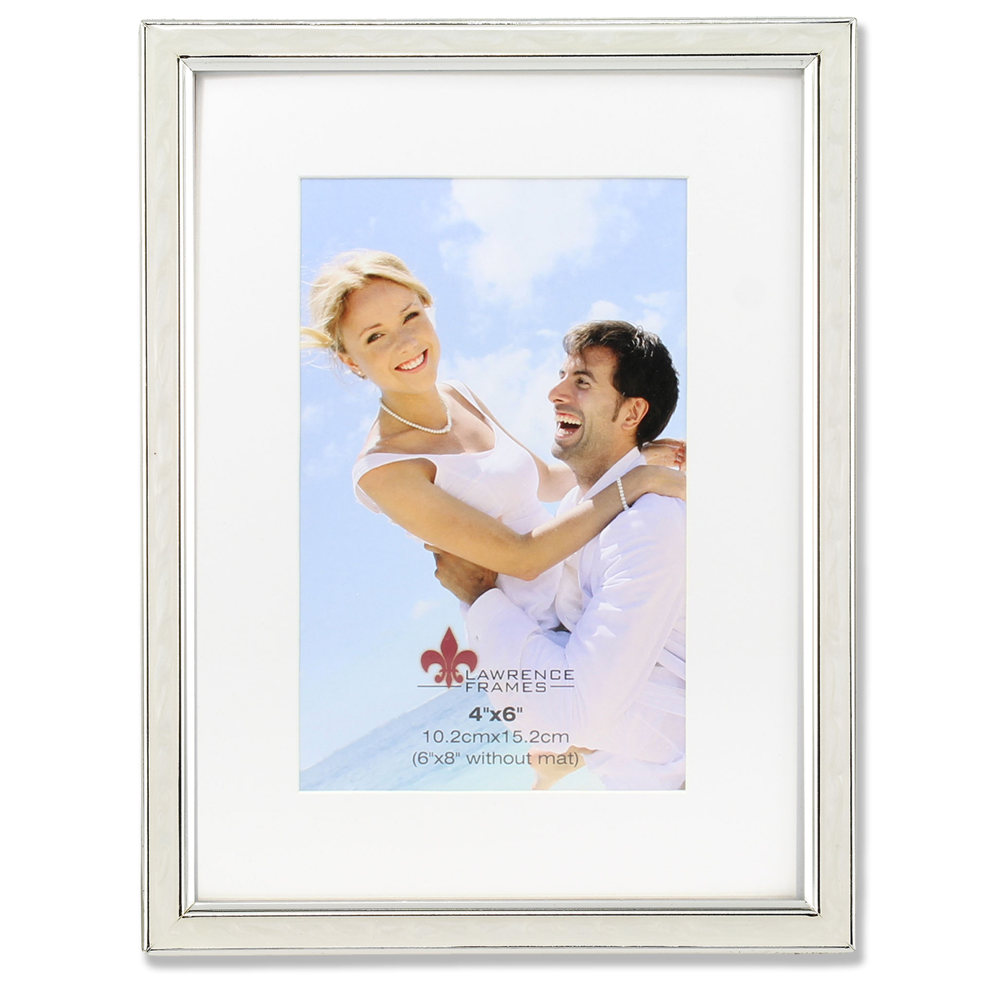 4x6 Matted Ivory Enamel and Silver Metal Picture Frame - 6x8 Without ...