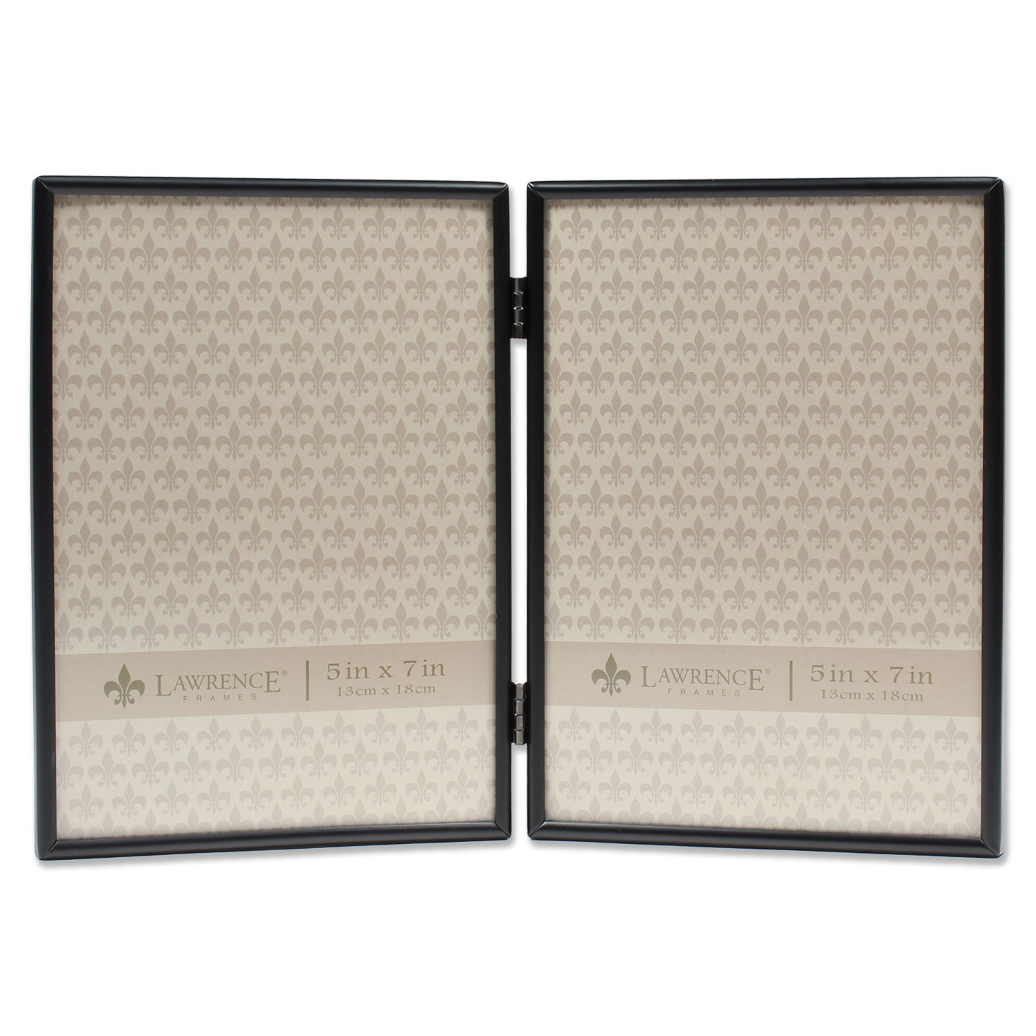 5x7 Hinged Double Simply Black Picture Frame | PhotoFrames.net