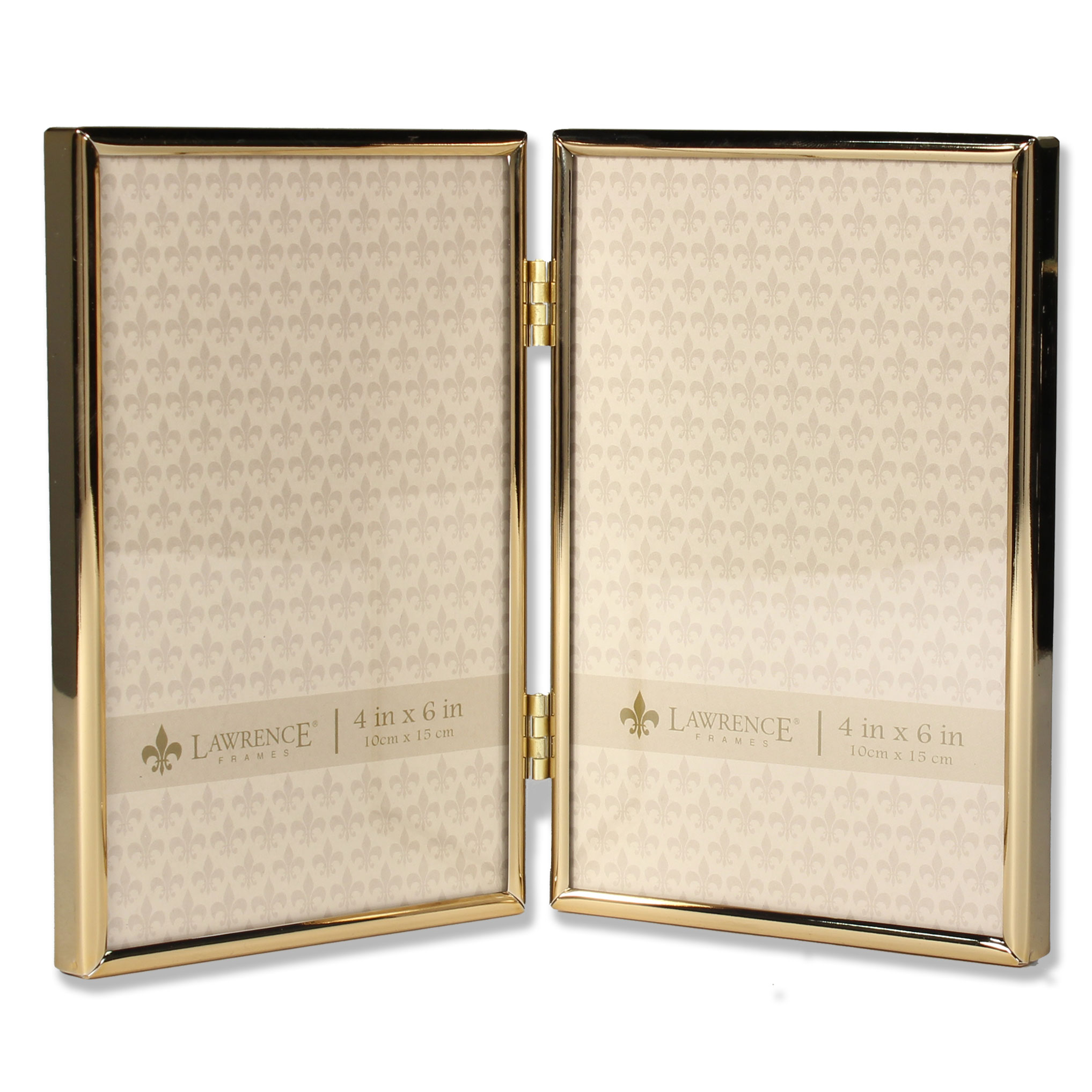 4x6 Hinged Double Simply Gold Metal Picture Frame | PhotoFrames.net