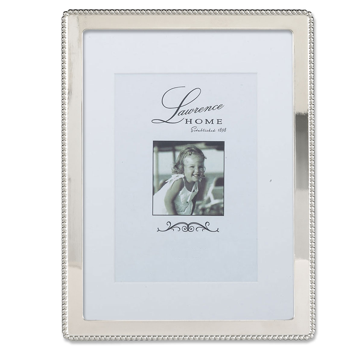 Silver Metal 8x10 Picture Frame With Delicate Outer Border