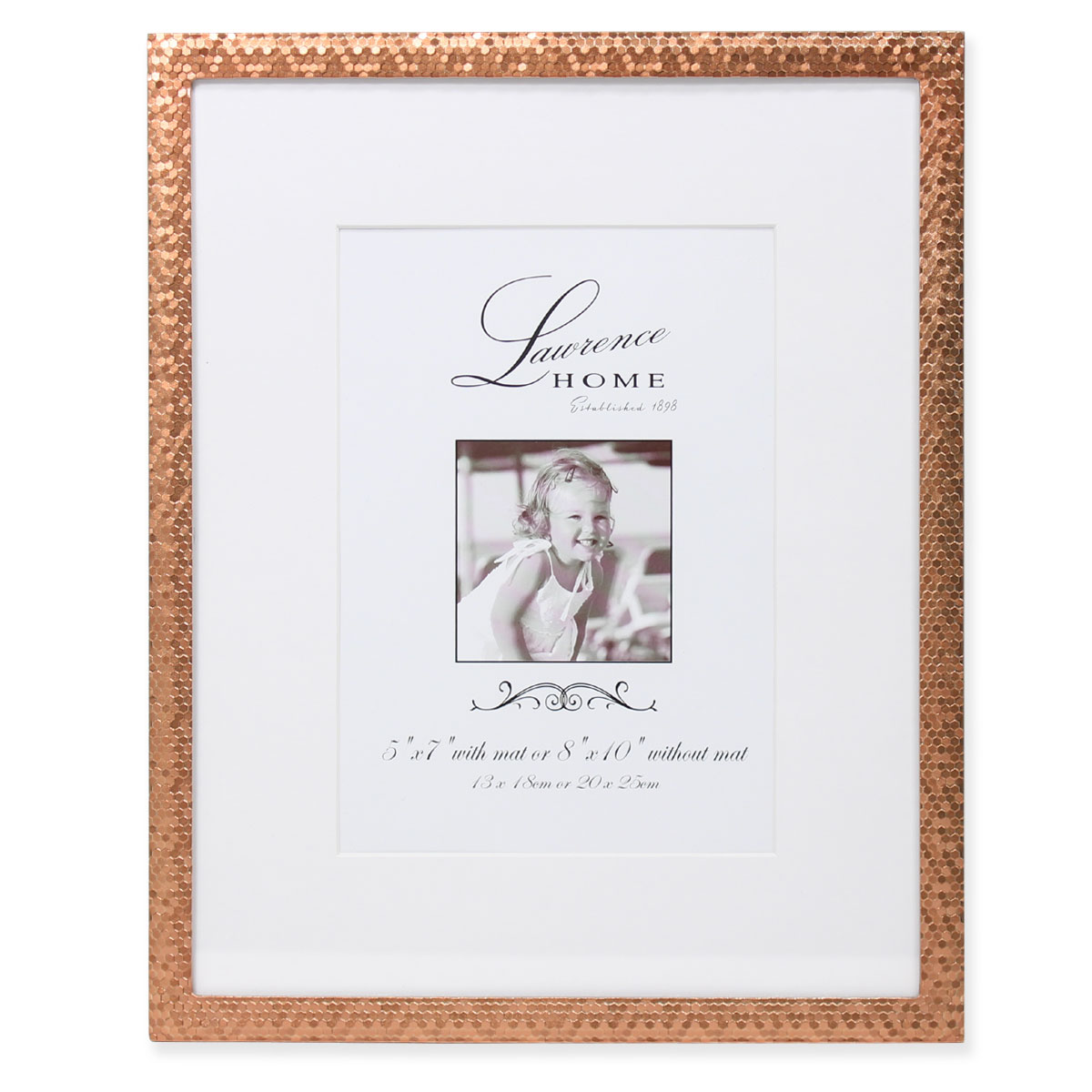 8x10 Rose Gold Shimmer Metal Matted For 5x7 Picture Frame