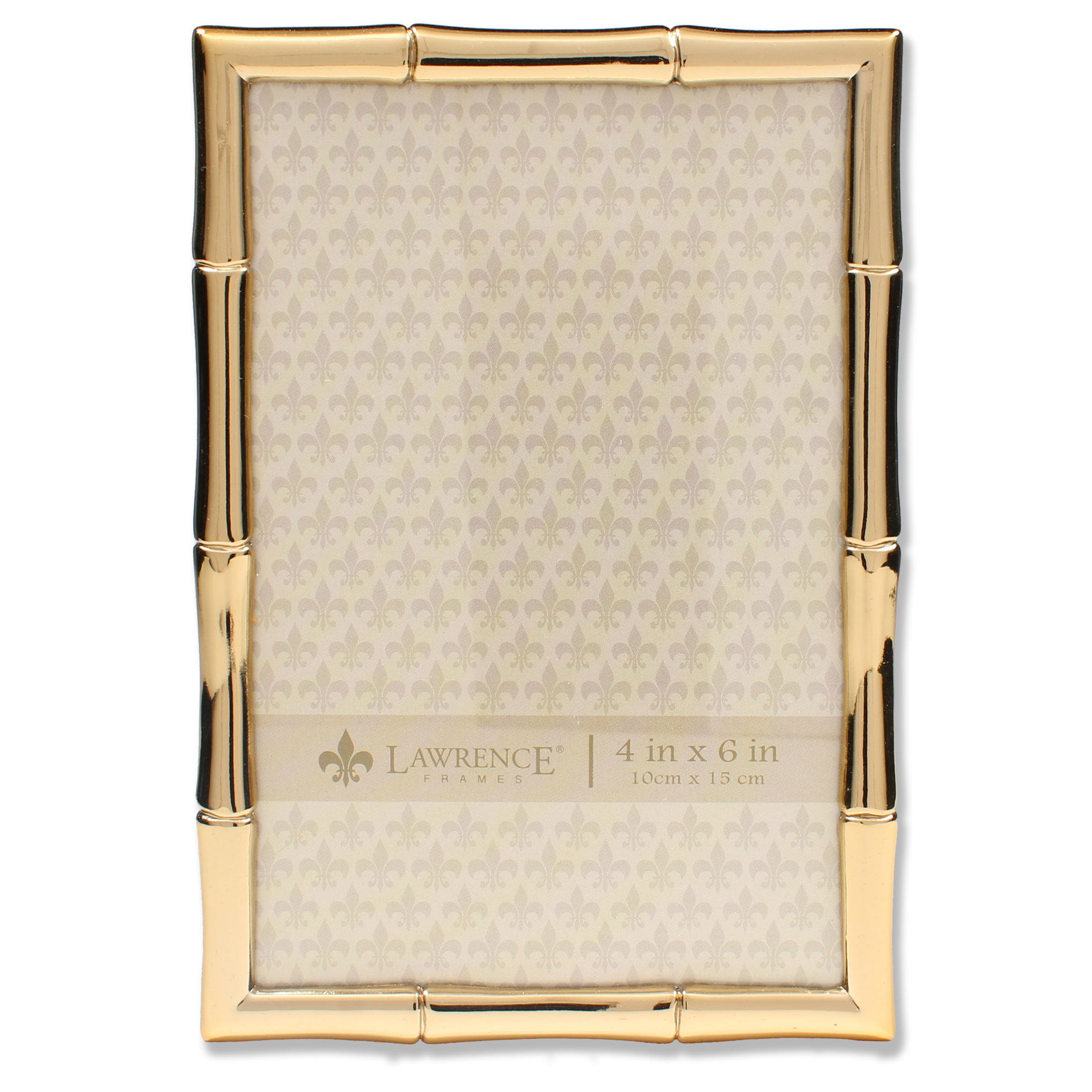 4x6 Gold Metal Picture Frame with Bamboo Design | PhotoFrames.net