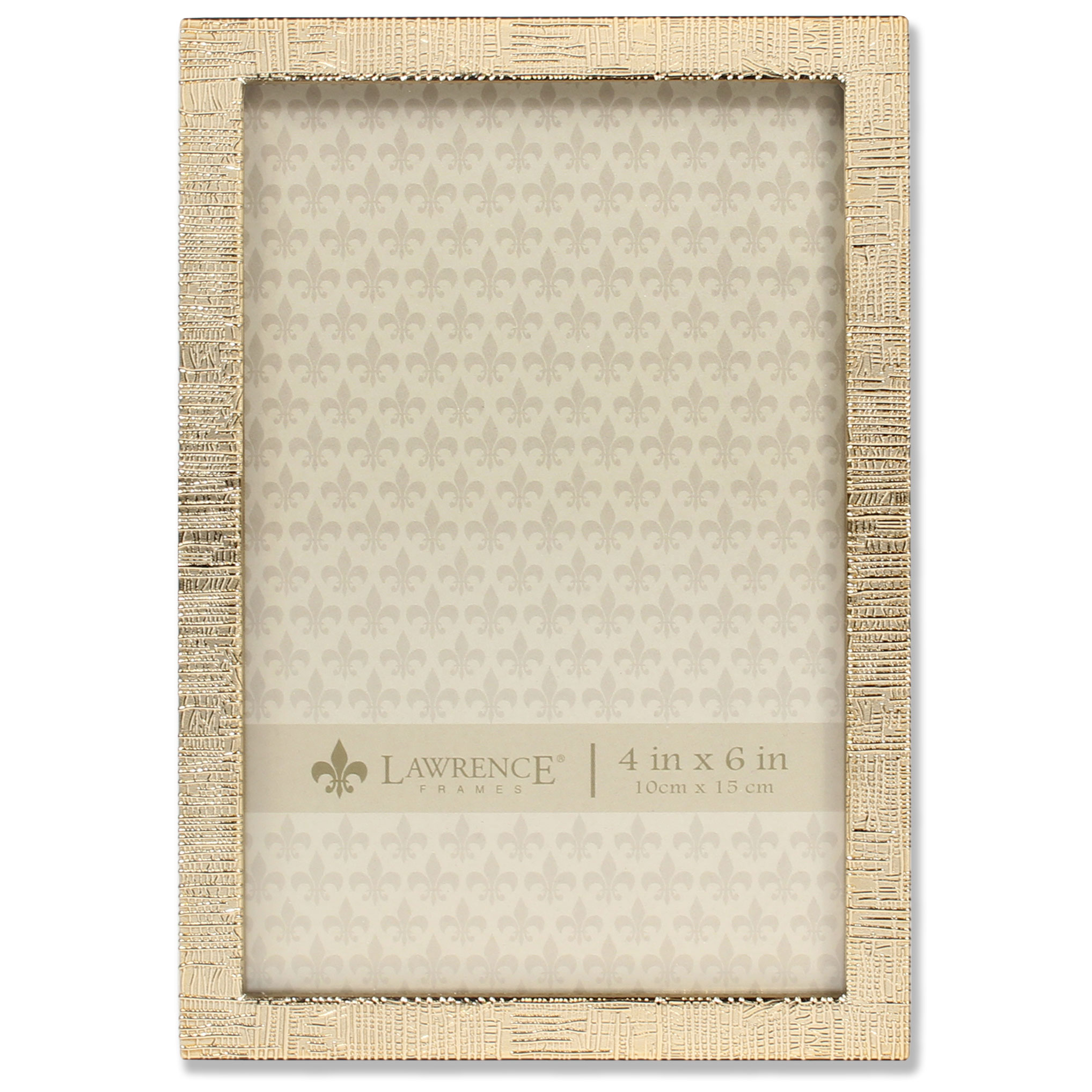 4x6 Gold Metal Picture Frame with Linen Pattern   PhotoFrames.net