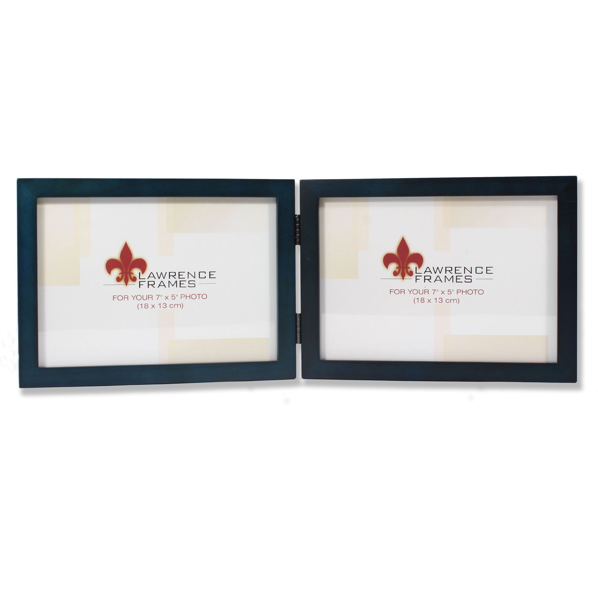 5x7 Hinged Double (Horizontal) Blue Wood Picture Frame - Gallery ...
