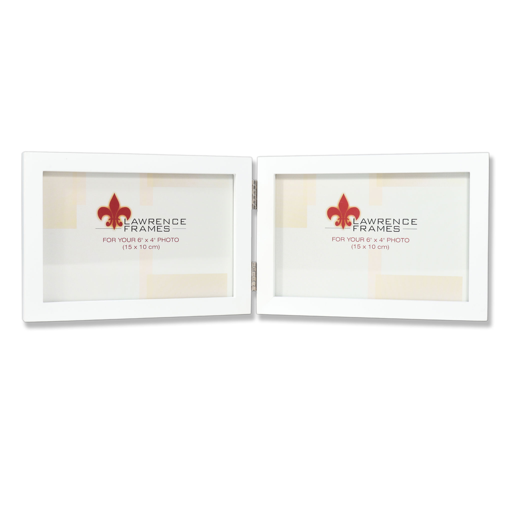 4x6 Hinged Double (Horizontal) White Wood Picture Frame - Gallery ...