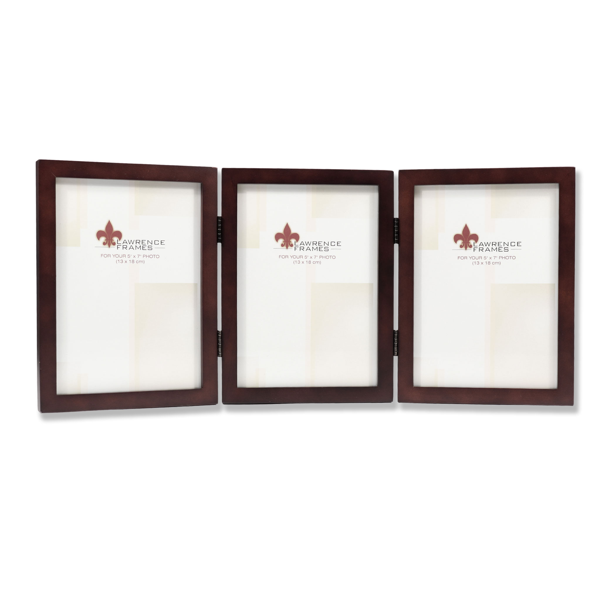 755957t Espresso Wood 5x7 Hinged Triple Picture Frame