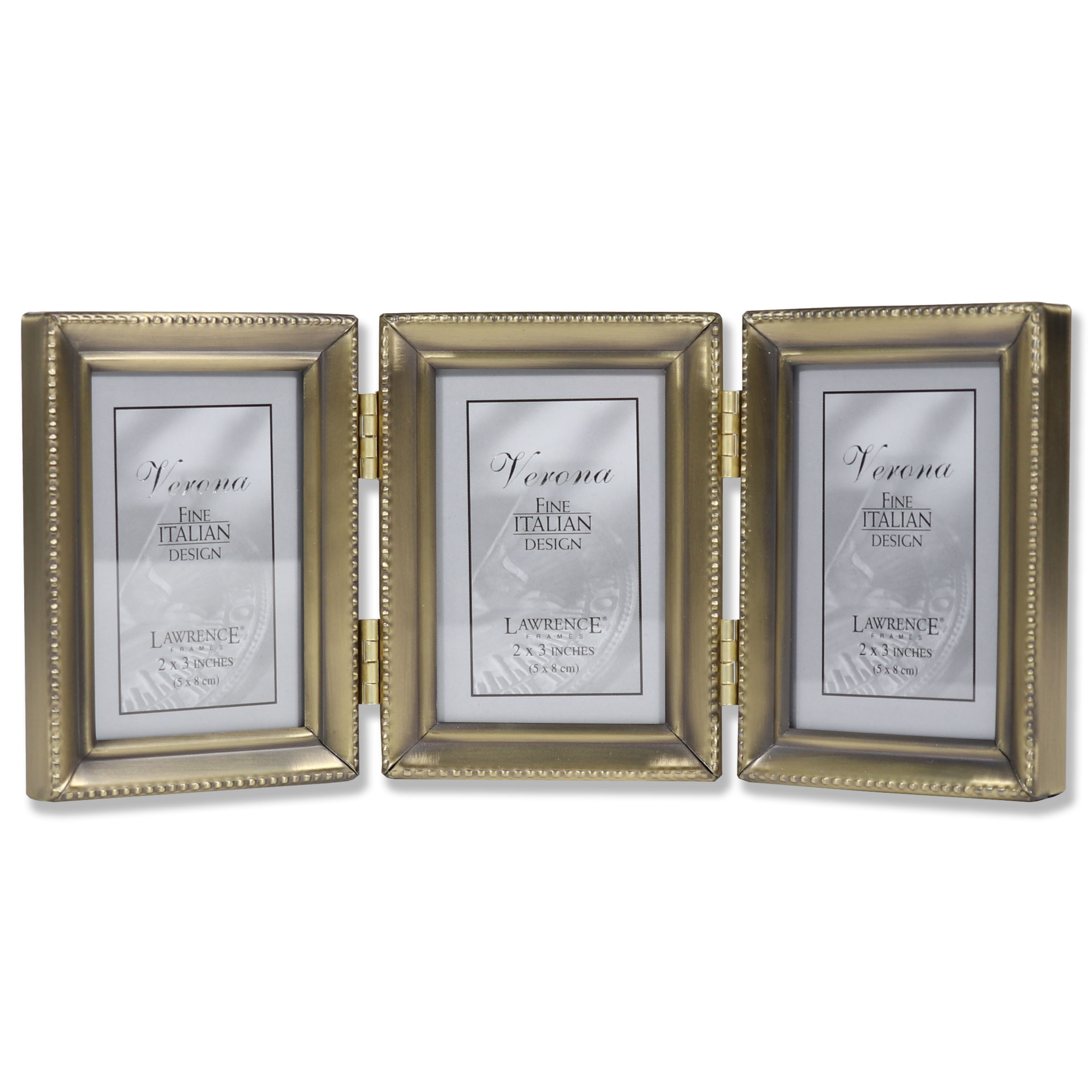Antique Gold Brass Hinged Triple 2x3 Picture Frame - Beaded Edge ...