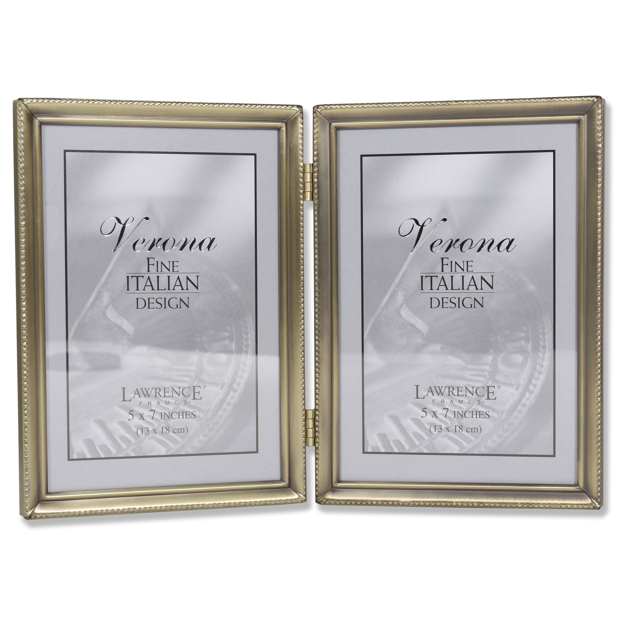 Antique Brass 5x7 Hinged Double Picture Frame - Bead Border Design ...