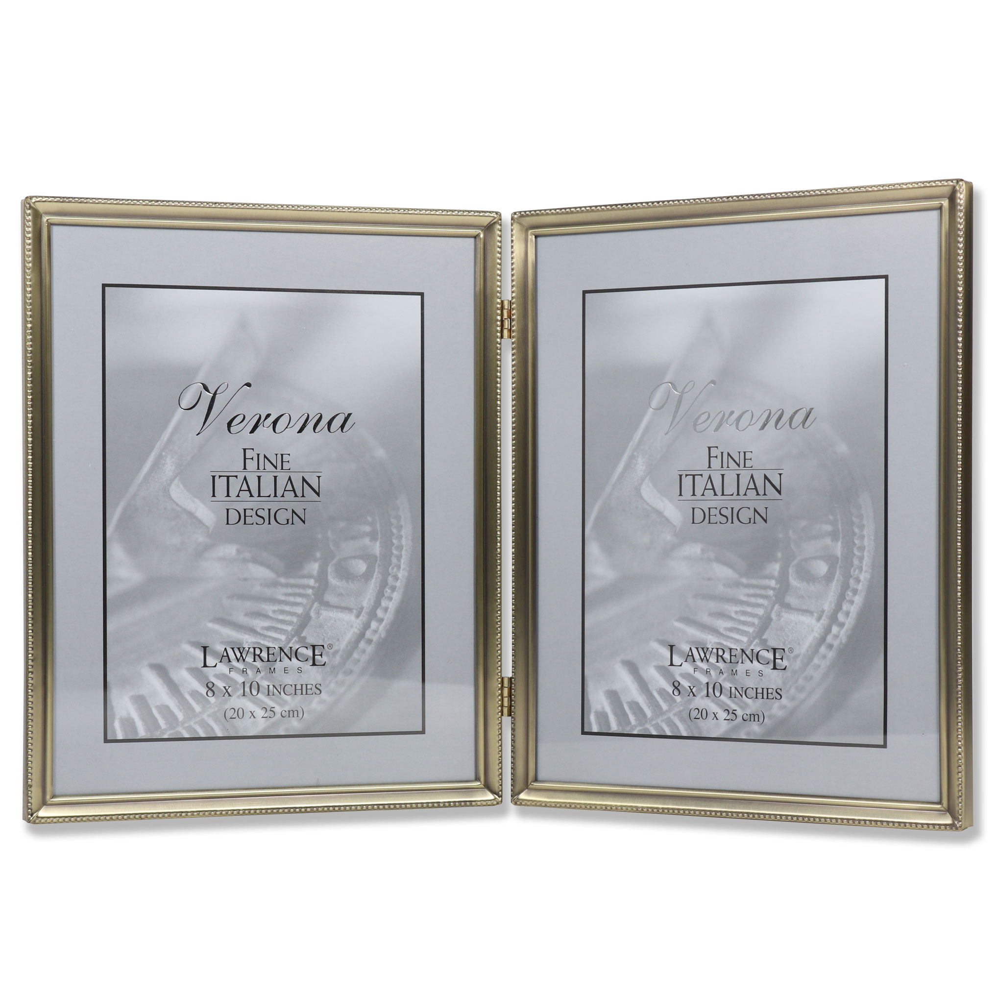 Antique Brass 8x10 Hinged Double Picture Frame - Bead Border Design ...