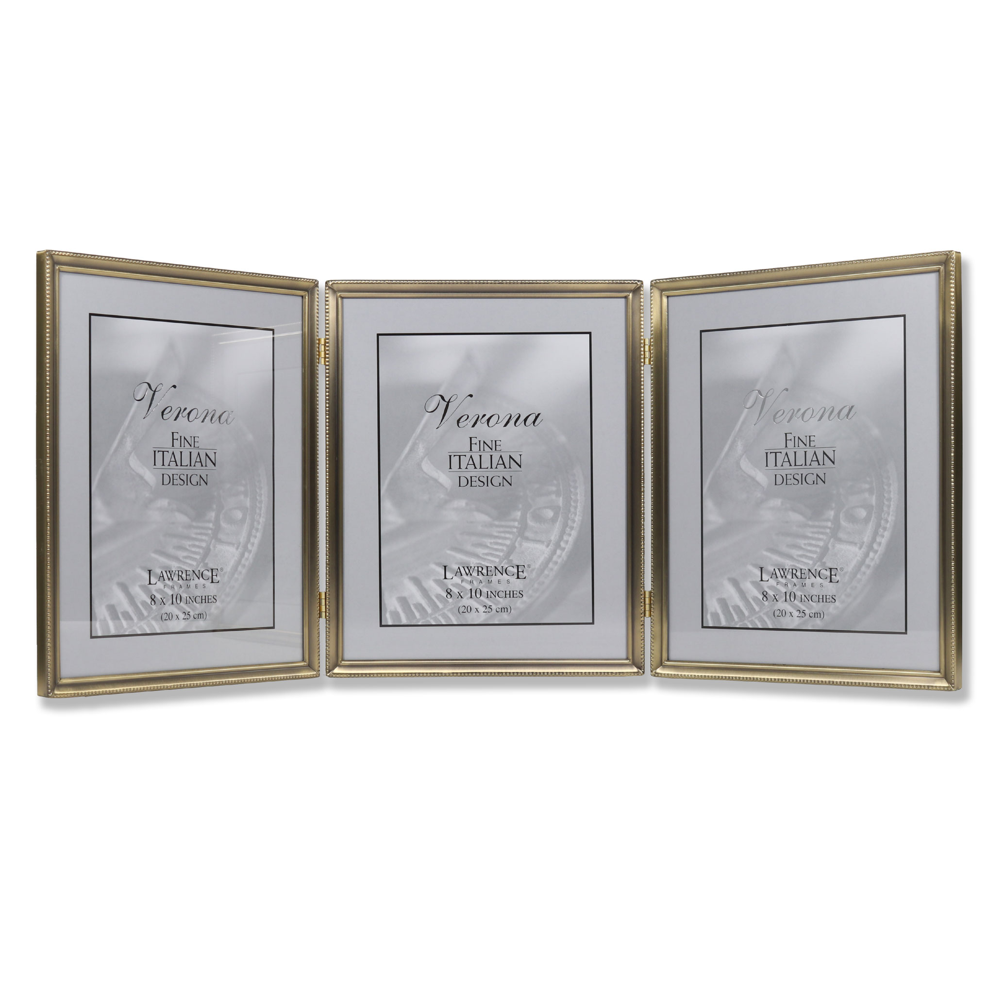 Antique Gold Bead 8x10 Hinged Triple Picture Frame | PhotoFrames.net