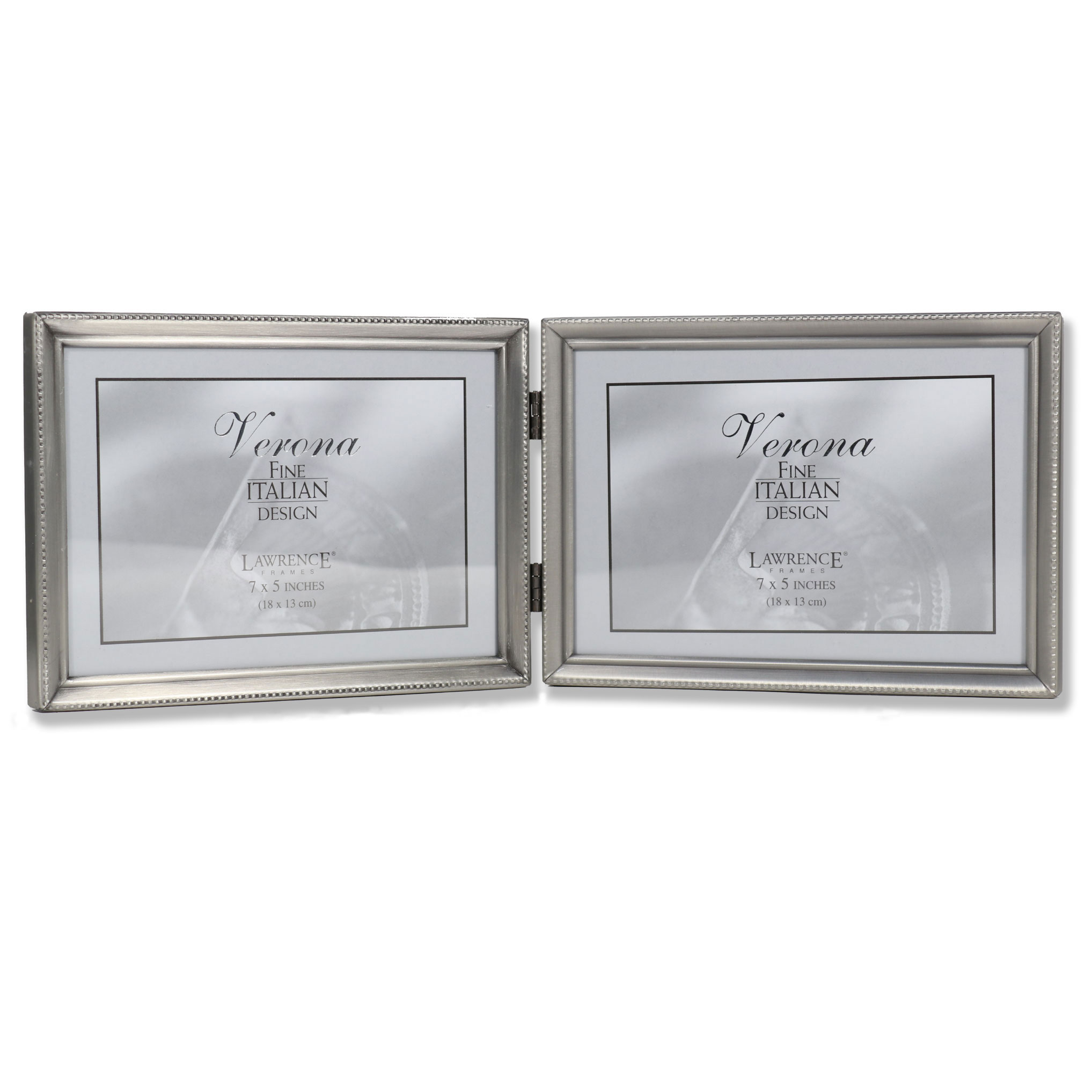 11575d Brushed Pewter Bead 7x5 Hinged Double Picture Frame