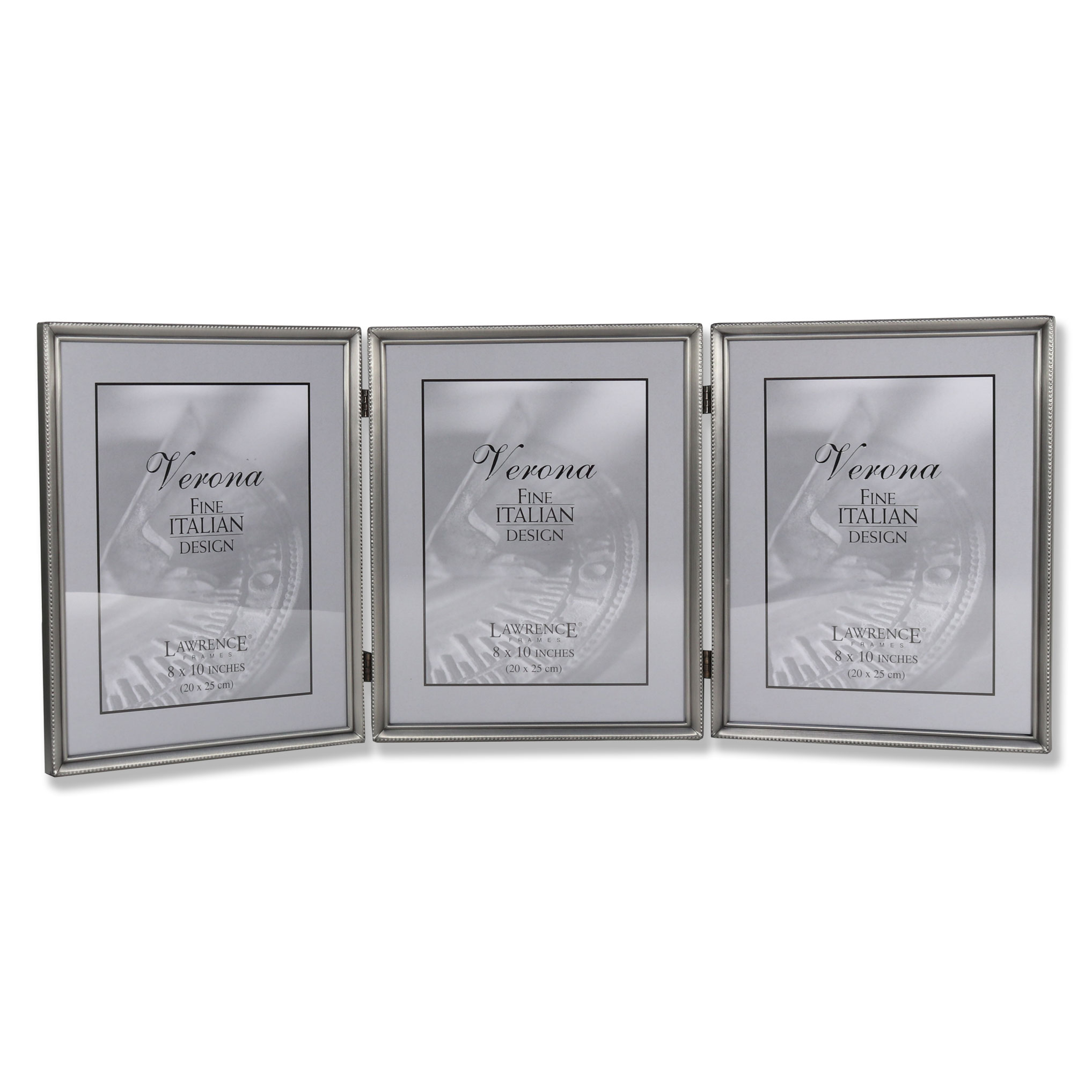 11580T Brushed Pewter Bead 8x10 Hinged Triple Picture Frame ...