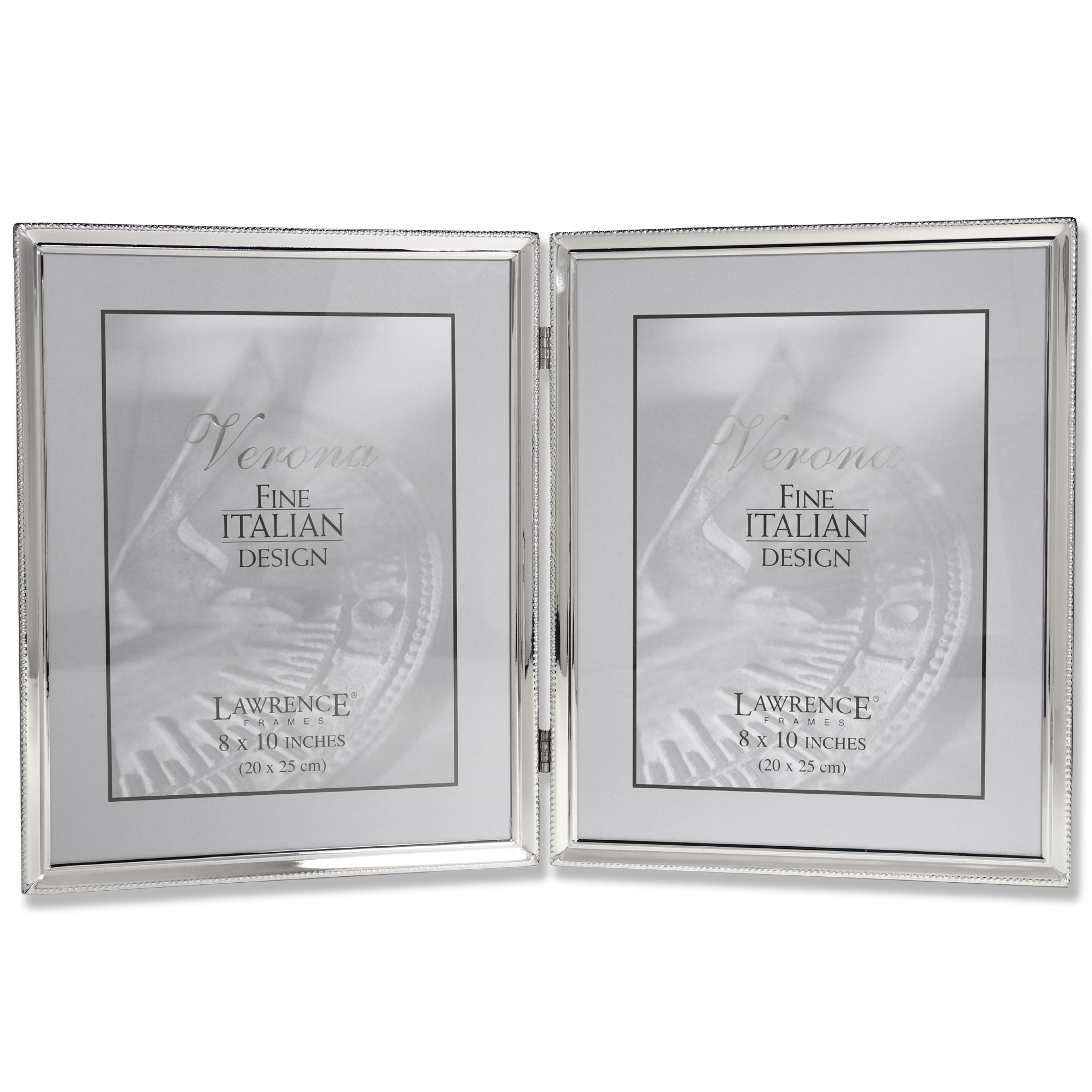 Polished Silver Plate 8x10 Hinged Double Picture Frame Bead Border