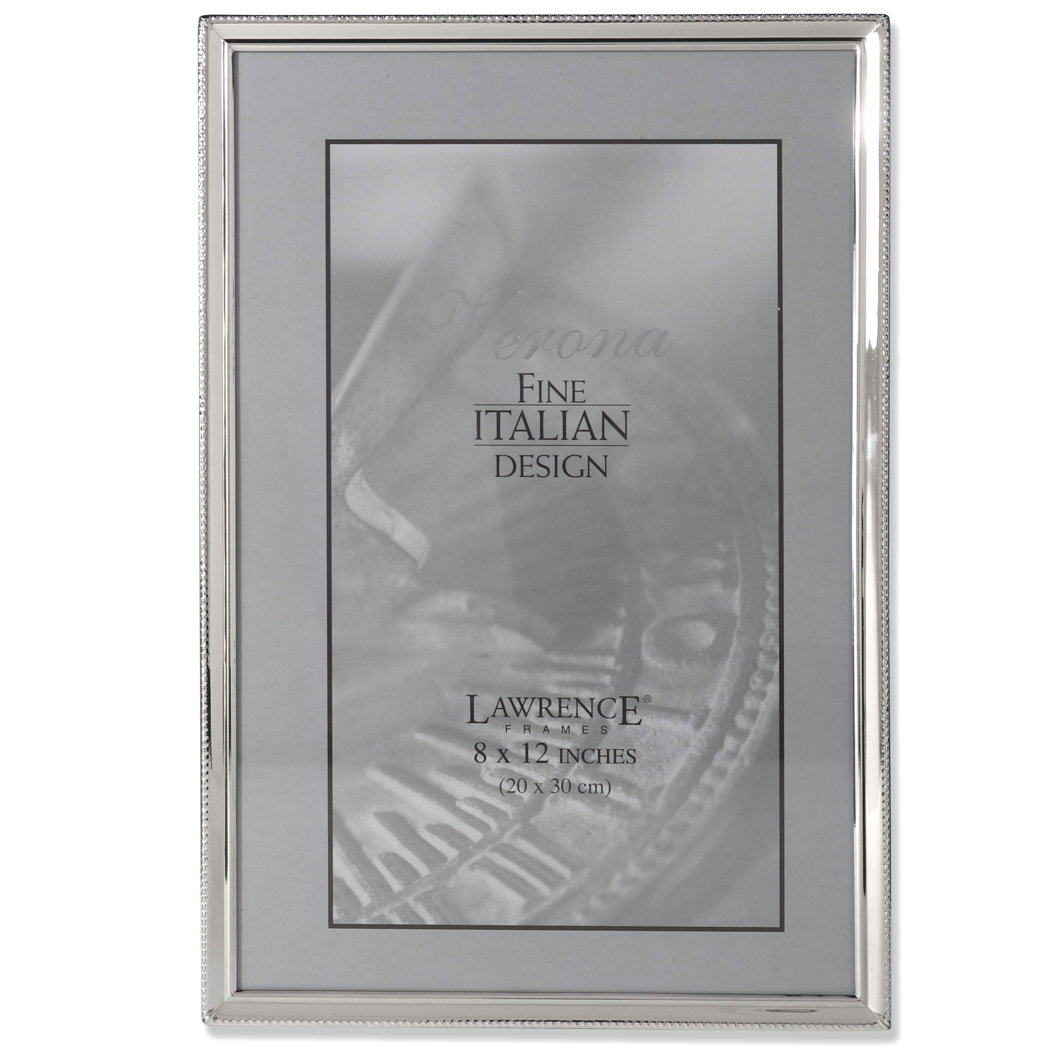Polished Silver Plate 8x12 Picture Frame Bead Border Design