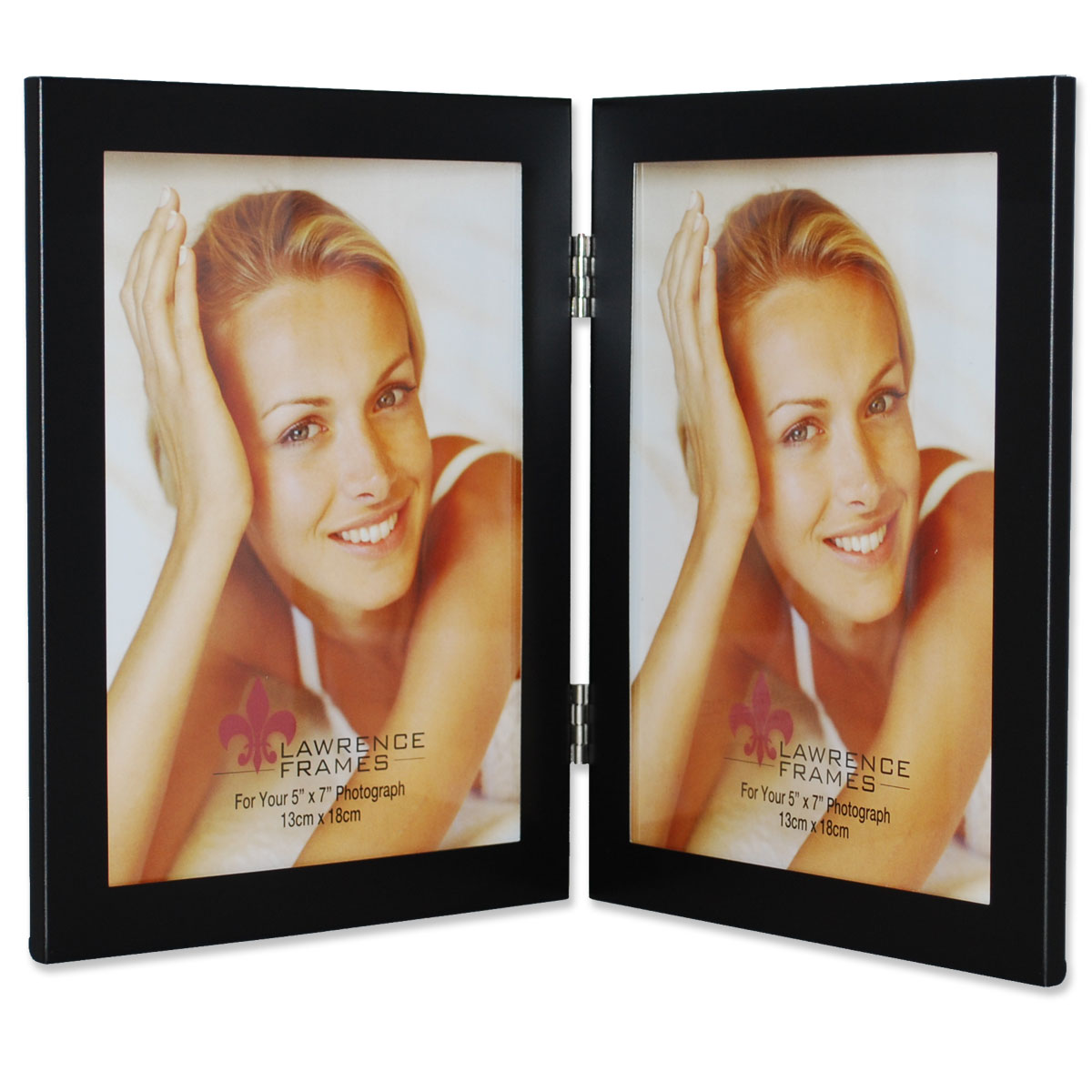 Black 5x7 Hinged Double Metal Picture Frame | PhotoFrames.net