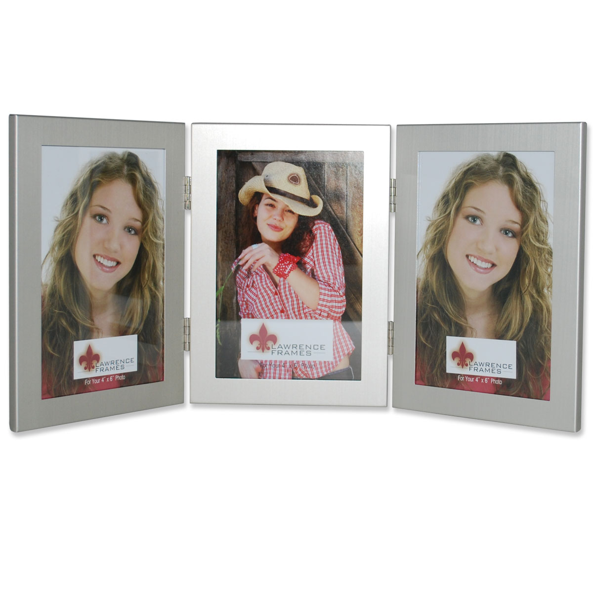 Brushed Silver 4x6 Hinged Triple Metal Picture Frame Photoframesnet