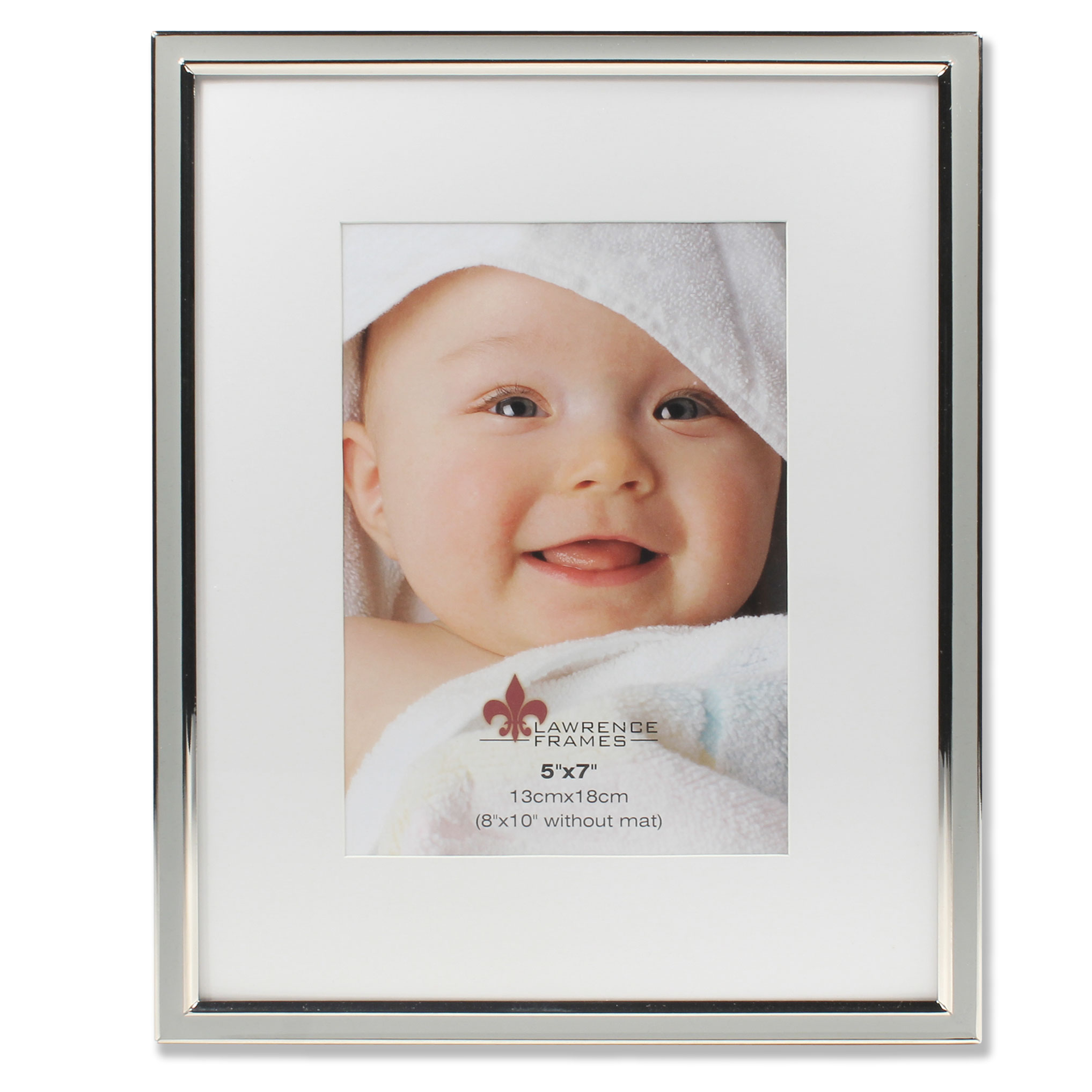 5x7 Matted Gray Enamel and Silver Metal Picture Frame - 8x10 Without ...