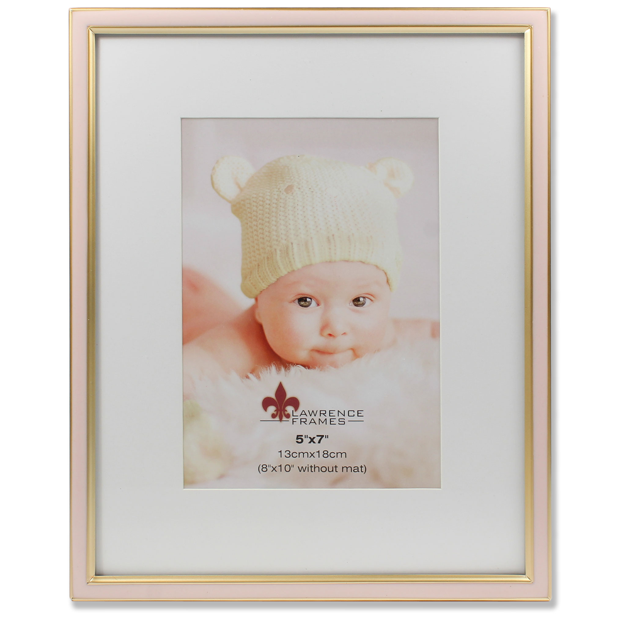 5x7 Matted Pink Enamel And Satin Gold Metal Picture Frame 8x10