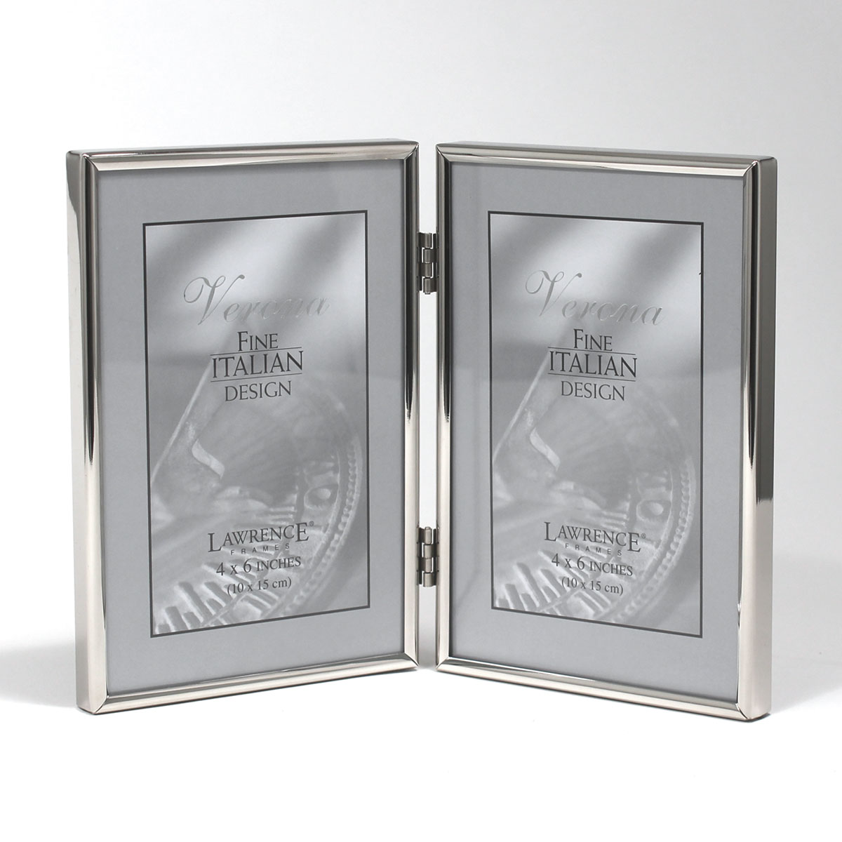 4x6 Hinged Double Simply Silver Metal Picture Frame Photoframesnet