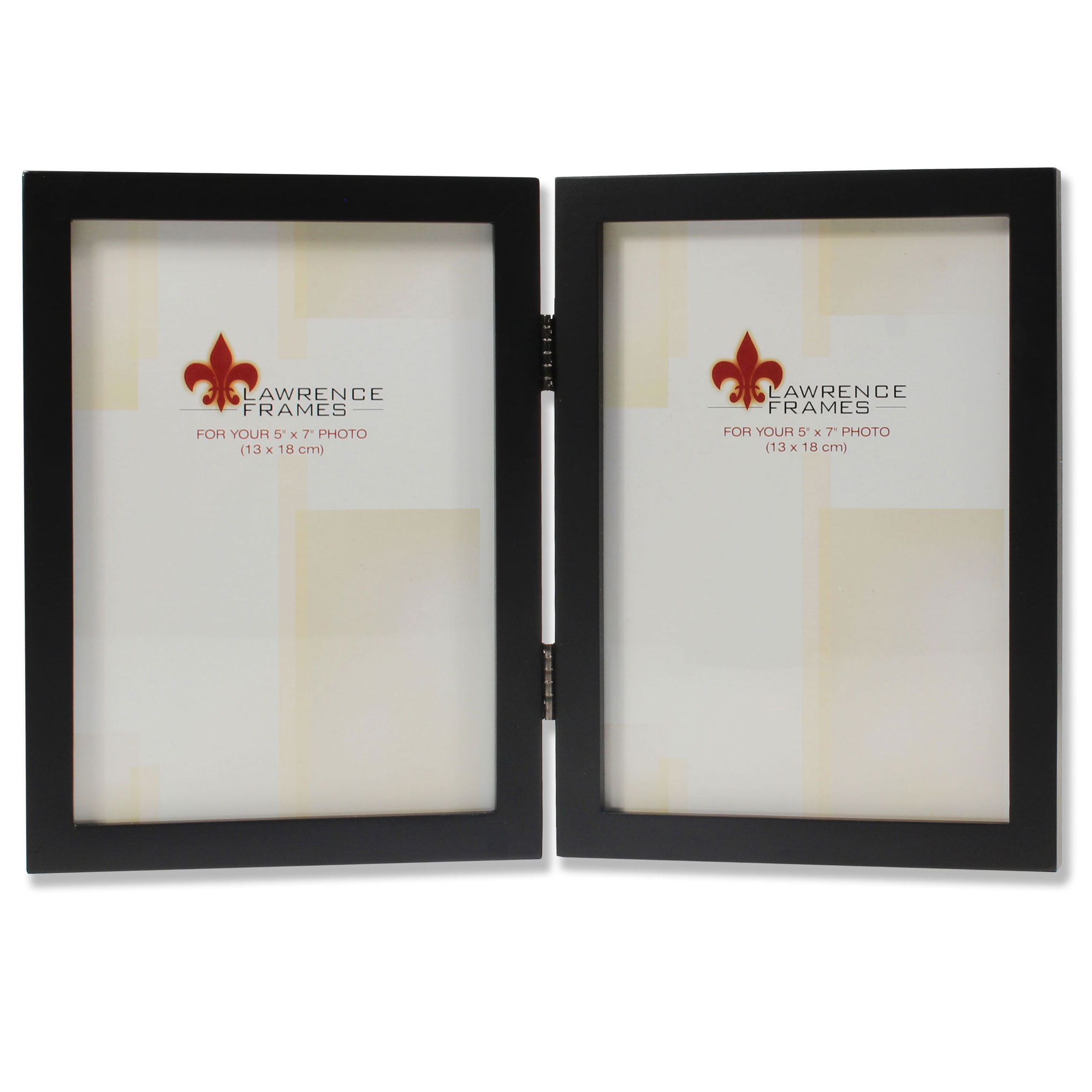 5x7 Hinged Double Black Wood Picture Frame - Gallery Collection ...