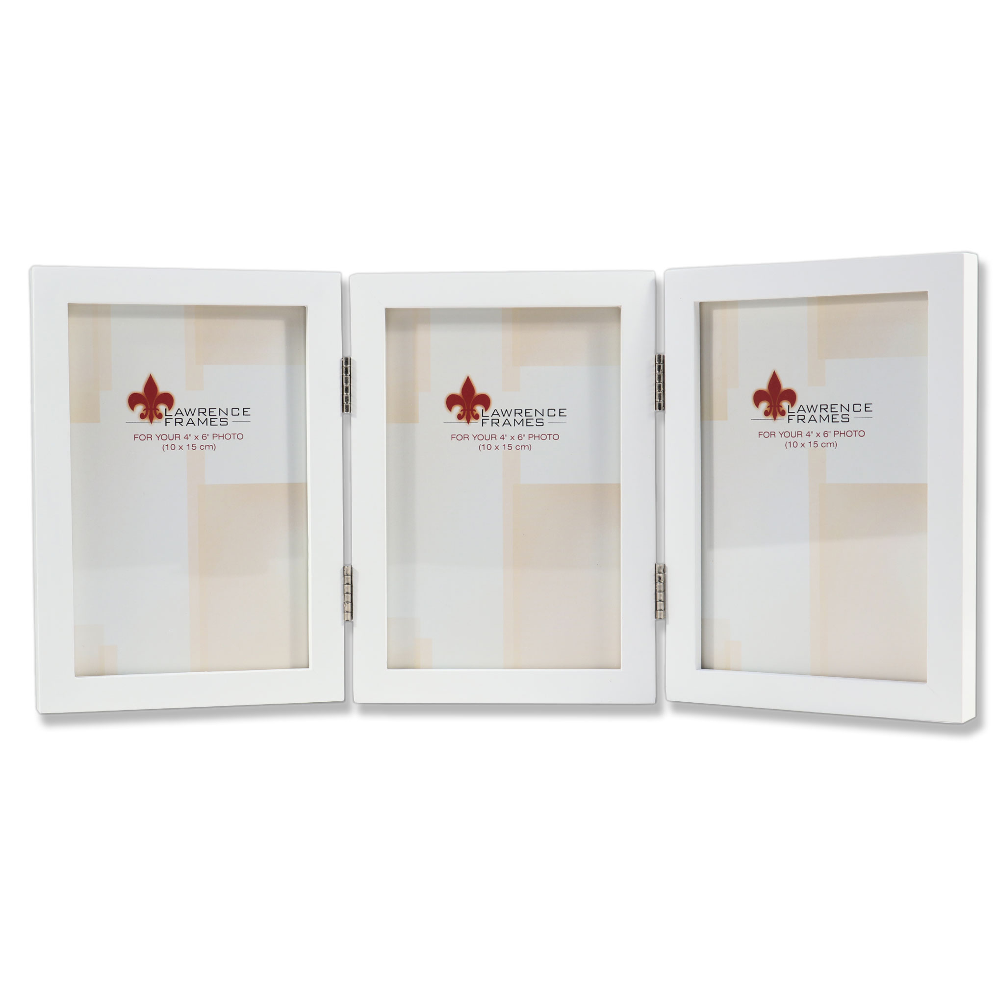 4x6 Hinged Triple White Wood Picture Frame Gallery Collection