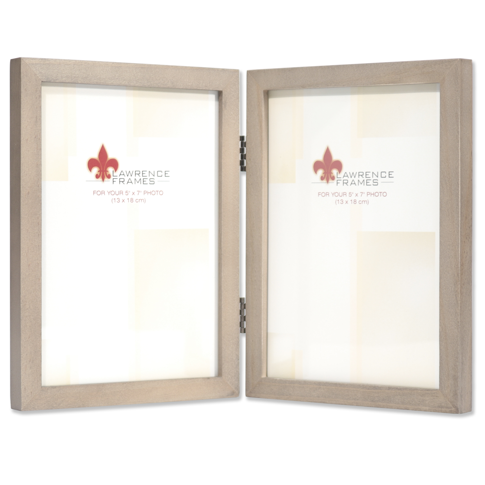 5x7 Hinged Double Gray Wood Picture Frame Gallery Collection